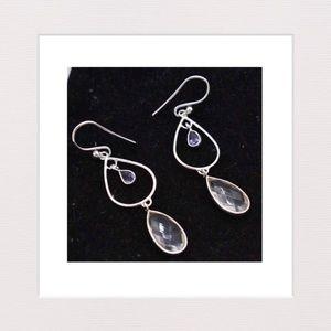 Jewelry - Amethyst, Quartz & Sterling Silver Drop Earrings